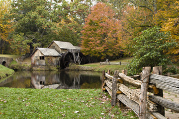 Virginia's Mabry Mill on the Blue Ridge Parkway in Autumn