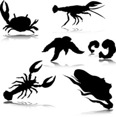 sea crabs vector silhouettes