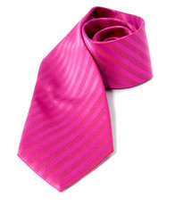 Pink tie isolated on white background