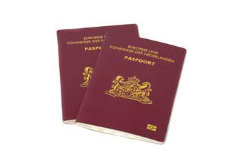 Dutch passports isolated on white background