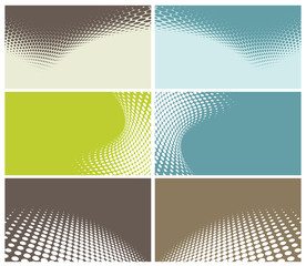 set of modern business cards with halftone