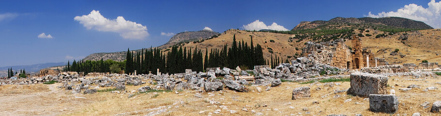 Ruins of ancient necropolis near Pamukkale, Turkey
