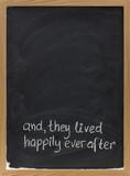 fairytale happy end phrase on blackboard poster
