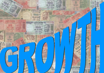 growth text graph with Rupee
