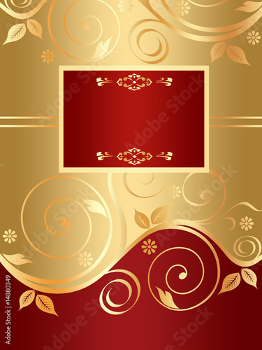 Red floral background with golden curls (set 2)