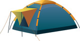 Tourist and camping tent poster