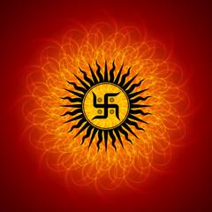 Spiritual Swastika On Mandala Background