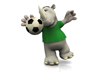 Cartoon rhino catching soccer ball.