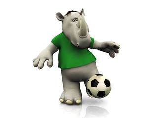 Cartoon rhino kicking soccer ball.