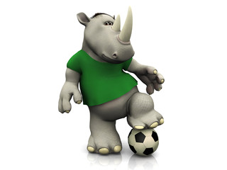 Cartoon rhino posing with soccer ball.