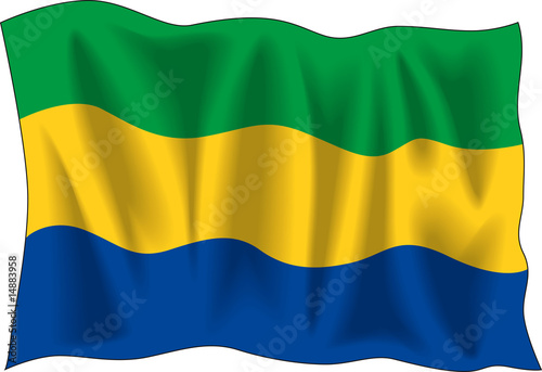 Waving flag of Gabon isolated on white