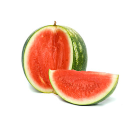 Seedless watermelon and its segment isolated on white background