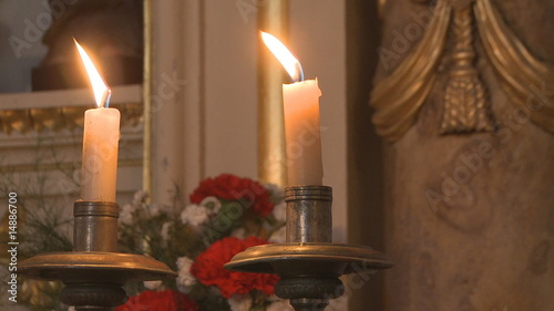 Candles and flowers in a church