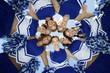 Smiling Cheerleaders standing in circle, portrait, view from below