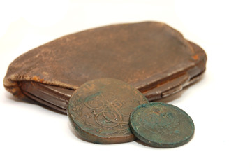 Very old purse of 19 centuries and a coin of 19-18 centuries