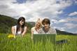 Junge Leute mit Laptop in Blumenwiese