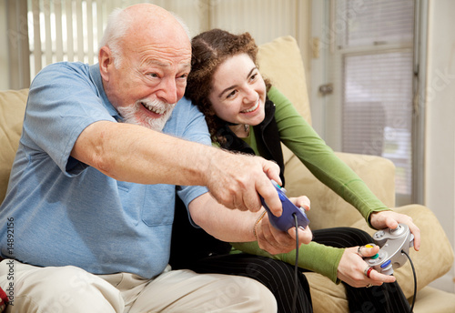 Grandpa and Teen Play Video Games t-shirt