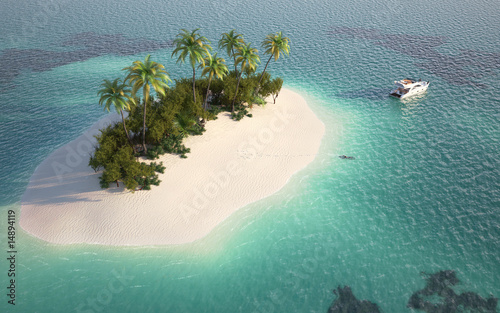 aerial view of paradise island - 14894119