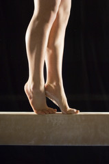 Gymnast 13-15 on balance beam, low section