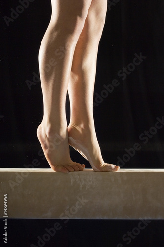 Gymnast 13-15 on balance beam, low section