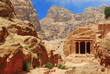 temple in petra canyon, jordan