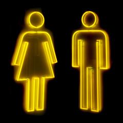 neon bathroom sign