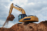 Excavator with earth in the bucket - 14898743