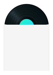 Vinyl record in sleeve (backside). High-detailed vector