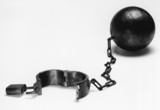 Ball and chain, b&w
