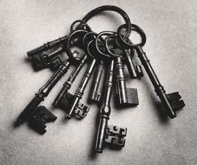 Set of antique keys, b&w