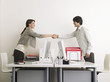 Man and Woman Shaking Hands over Desks, side view