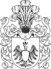 ornate heraldic shields illustration on white background
