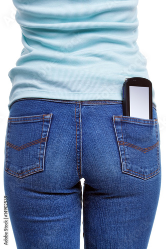 Smartphone in womans rear pocket