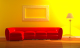 Red couch with standard lamp in minimalist interior poster