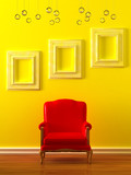 Red chair with empty frames in yellow minimalist interior poster