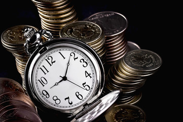 coins and pocket watch