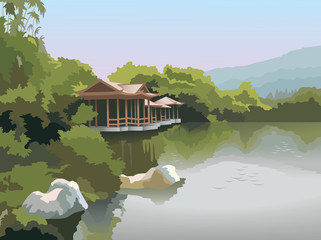 Chinese pagoda on the lake shore, photo-realistic vector