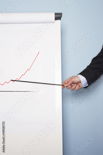 Businessman pointing at graph on easel, close-up of hand