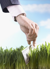 Businessman picking up fifty-dollar bill from grass, close-up of hand