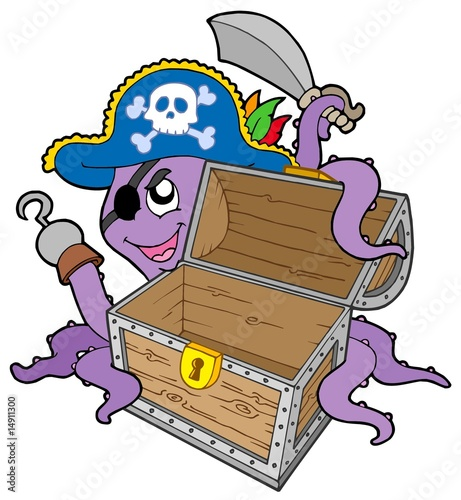 Staande foto Piraten Pirate octopus with chest