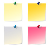 Four colorful reminder notes with pins - vector file poster