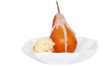 poached pear with wine syrup and ice cream