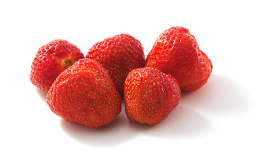 Group of delicious strawberries. Macro photo.