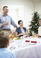 Family at table at christmas dinner