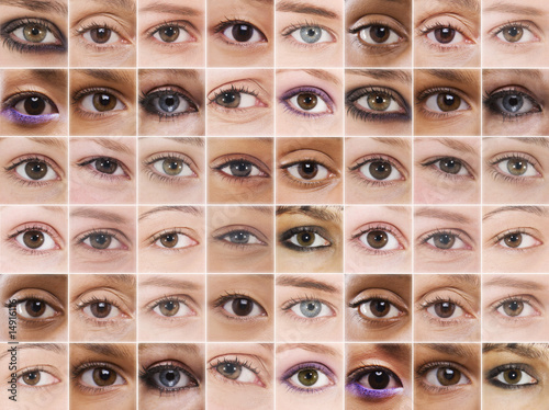 Digital composite of female eyes in grid
