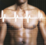 Man with electrocardiogram graph superimposed on chest, mid section