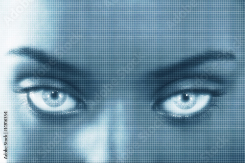 Portrait of woman with superimposed grid, close up