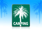 camping sign with palm backgrounds