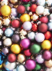 Pile of Christmas baubles, full frame