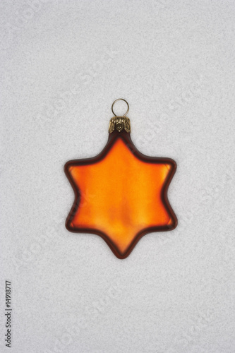 Christmas star ornament, on white background